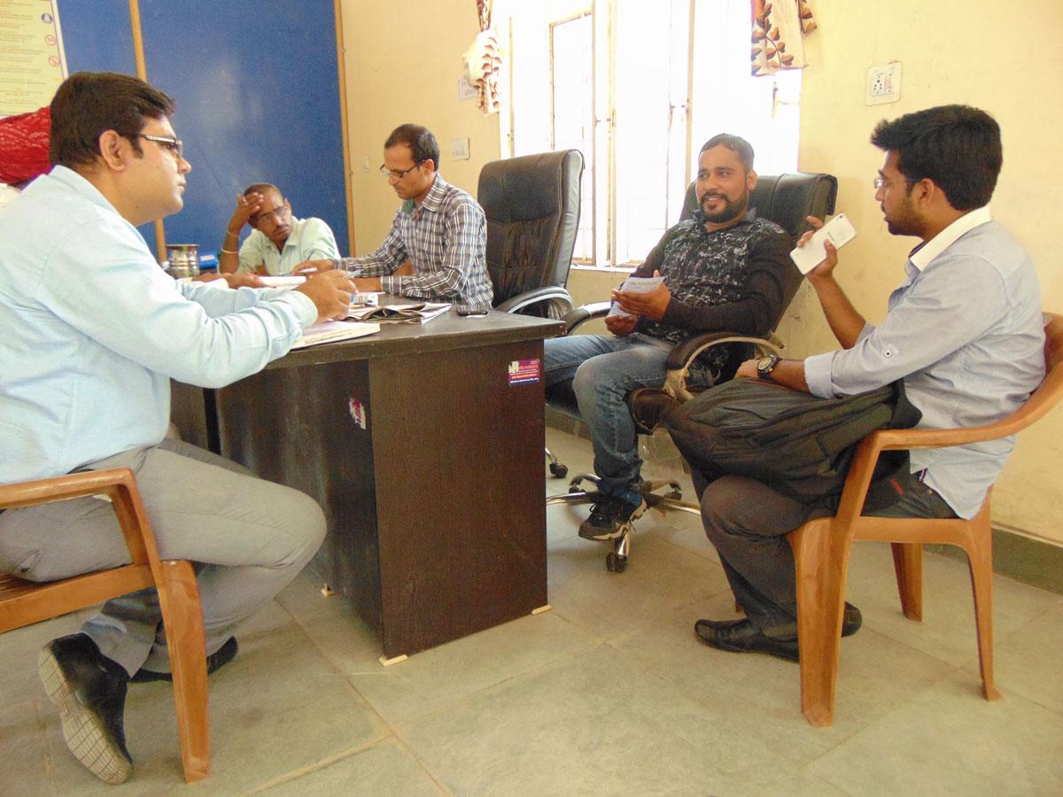 Kaushalam Foundation team in a meeting with Bhapura Sarpanch Vikas Singh.