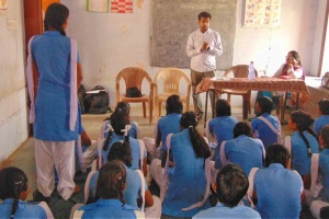 Kaushalam Foundation's CEO during induction session in Government School