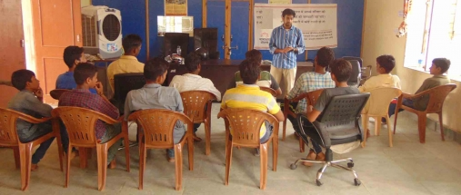 Kaushalam Foundation's CEO during induction session in Atal Seva Kendra