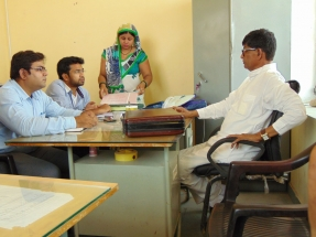 Meeting with Sarpanch in panchayat office