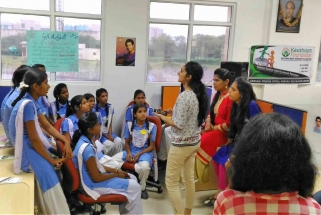 Patrika MAG team in coversation with school students