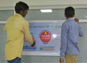 Kaushalam Foundation team preparing the event area